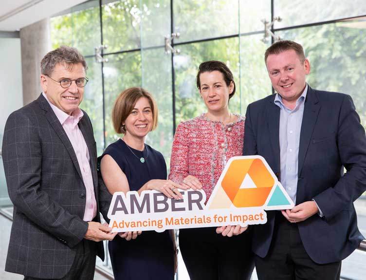Prof. Mick Morris, Director AMBER; Dr Lorraine Byrne, Executive Director AMBER; Dr Aoife Gallagher, Head of Innovation, RCSI; Prof. Fergal O'Brien, Professor of Bioengineering & Regenerative Medicine, RCSI and Deputy Director, AMBER.