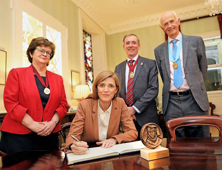 Prof. Hannah McGee, Dean of the Faculty of Medicine & Health Sciences, RCSI; Former US Ambassador to the UN Samantha Power; Kenneth Mealy, President of RCSI and Prof Cathal Kelly, RCSI.