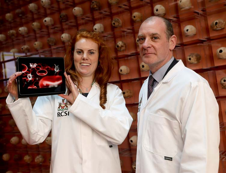 Dr Sinéad Hurley and Professor Steve Kerrigan from the School of Pharmacy, RCSI who presented research into a new breakthrough therapy in the fight against sepsis at RCSI Research Day 2019.