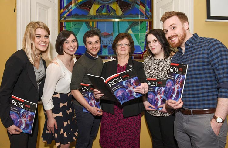 Jenna Geers, Director; Rachel Adilman, Senior Editor; Cameron Chalker, Assistant Peer Review Director; Professor Hannah McGee; Suzanne Murphy, Editor in Chief; and David Maj, Peer Review Director photographed at the RCSI SMJ launch at the Albert Lecture Theatre, RCSI.