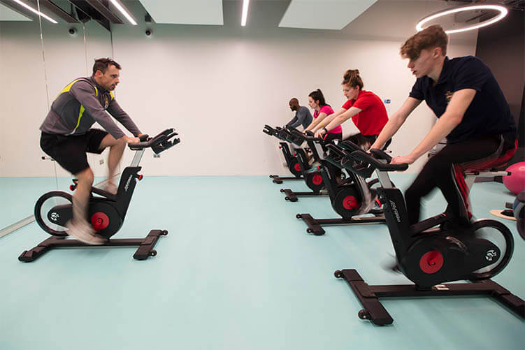 Students in spinning class